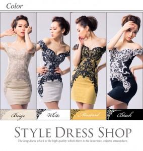 曲線を描く刺繍がボディラインを女らしく魅せる総レースミニドレス